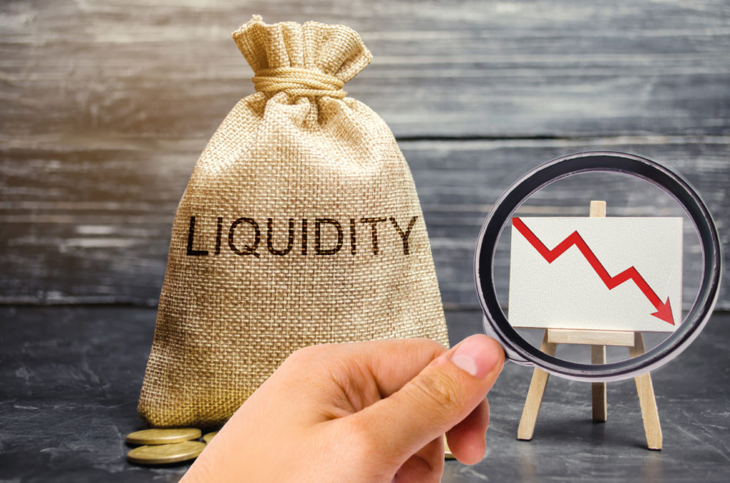 Falling liquidity and profitability of stocks and investments. Recession. Low attractiveness of short-term deposits. Financial crisis. The collapse of the securities market. Money bag, down arrow